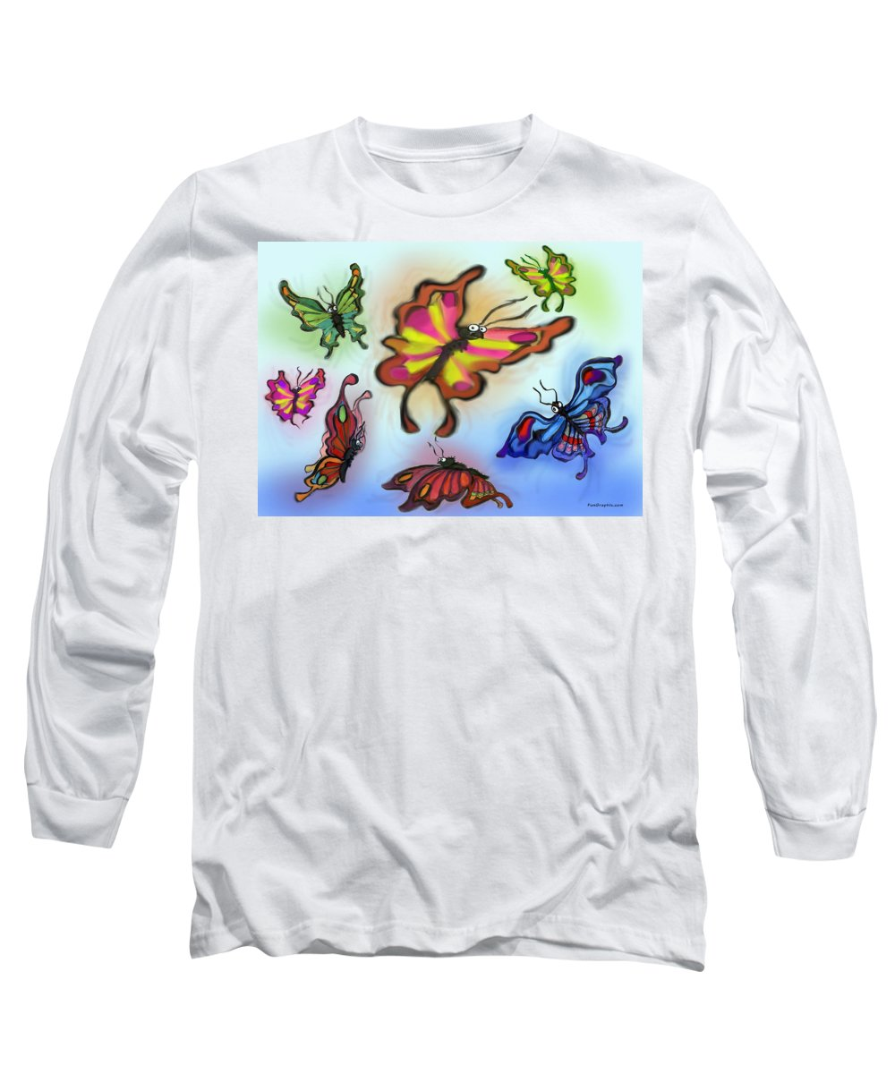 Butterfly Long Sleeve T-Shirt featuring the digital art Butterflies by Kevin Middleton