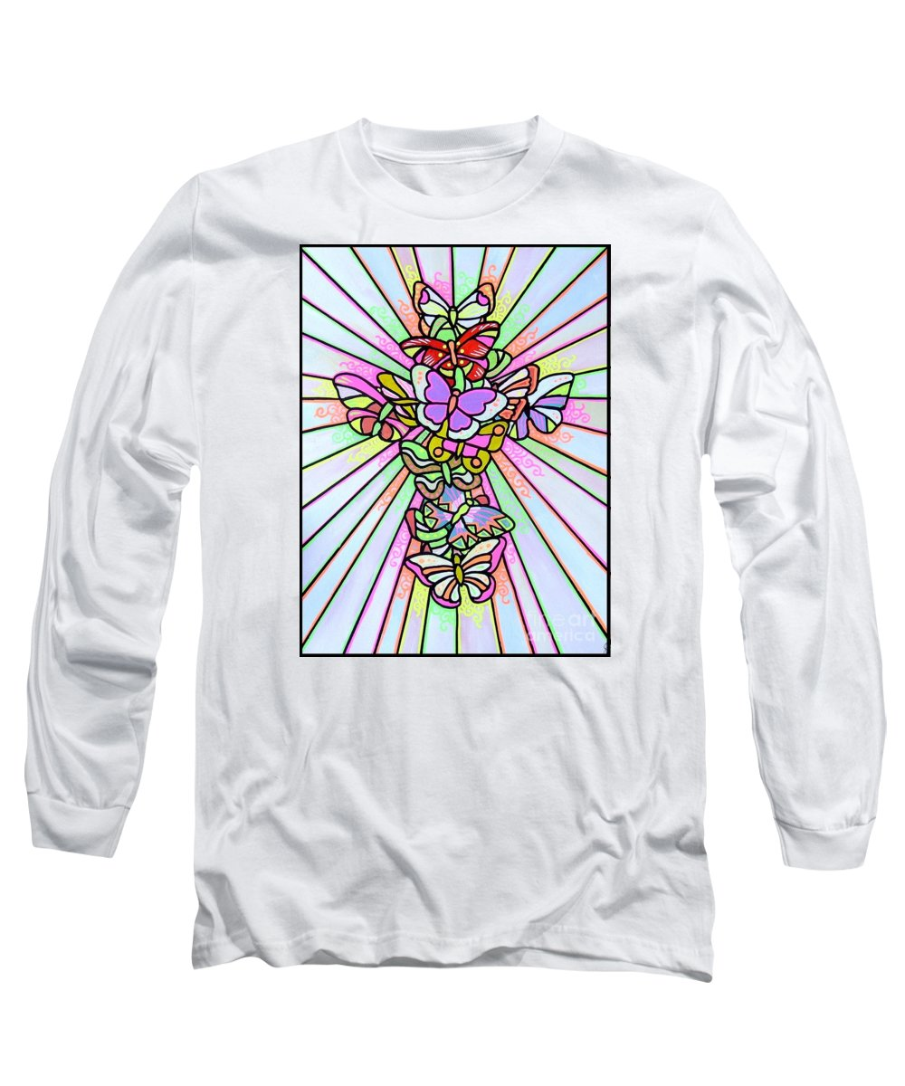 Cross. Easter Long Sleeve T-Shirt featuring the painting Butterfly Cross by Jim Harris