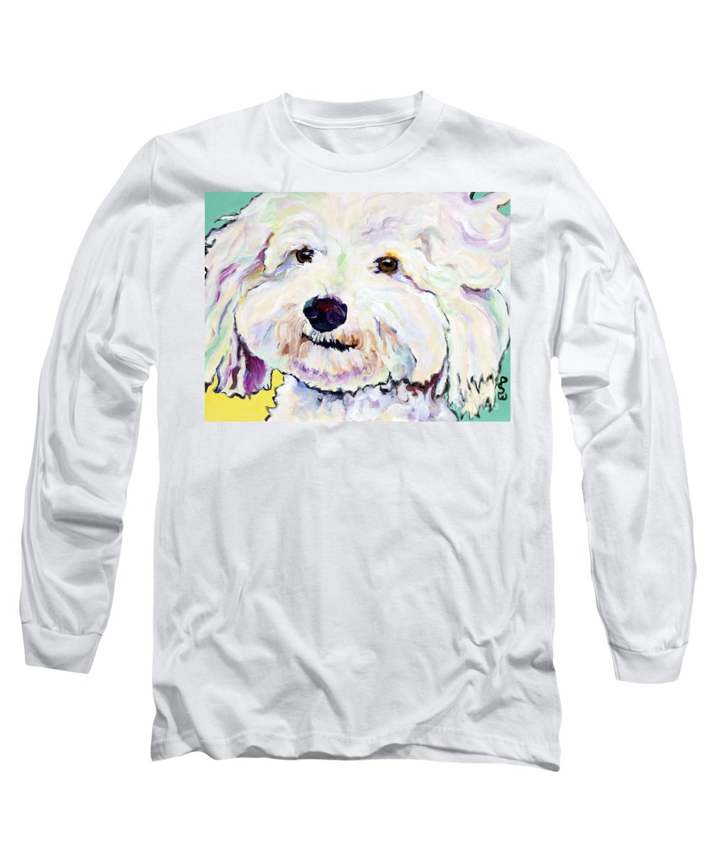 Bischon Long Sleeve T-Shirt featuring the painting Buttons  by Pat Saunders-White