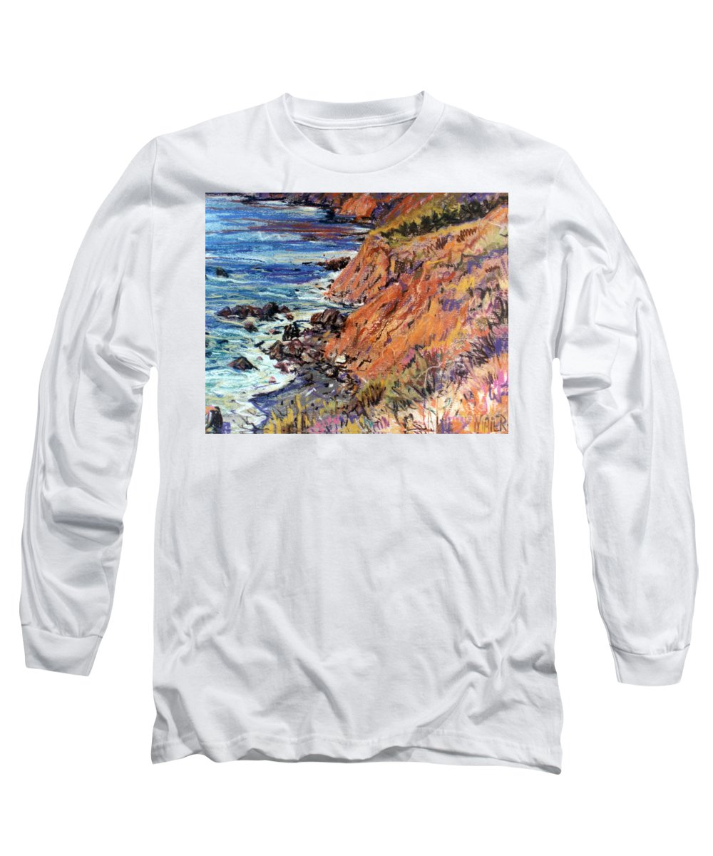 Big Sur Long Sleeve T-Shirt featuring the drawing California Coast by Donald Maier