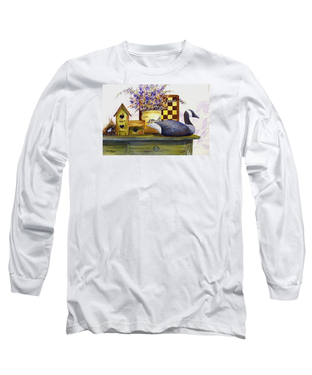 Canada Goose;birdhouse;bird Nest;crock;checkerboard;still Life;country Still Life; Long Sleeve T-Shirt featuring the painting Canada And Checkerboard by Lois Mountz