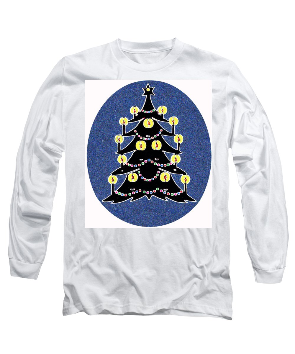 Christmas Long Sleeve T-Shirt featuring the digital art Candlelit Christmas Tree by Nancy Mueller