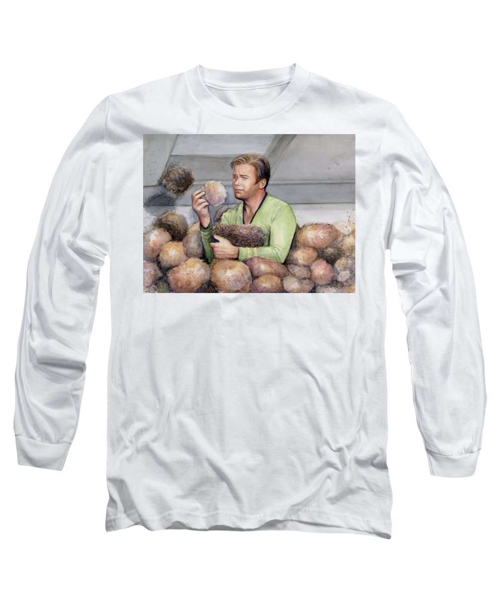 Star Trek Long Sleeve T-Shirt featuring the painting Captain Kirk And Tribbles by Olga Shvartsur