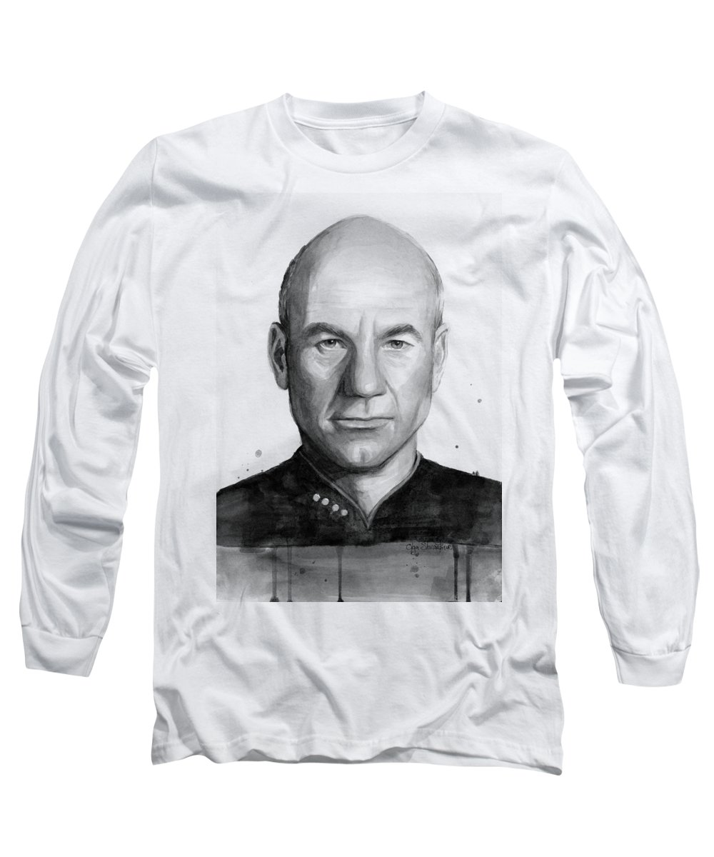 Captain Picard Long Sleeve T-Shirt featuring the painting Captain Picard by Olga Shvartsur