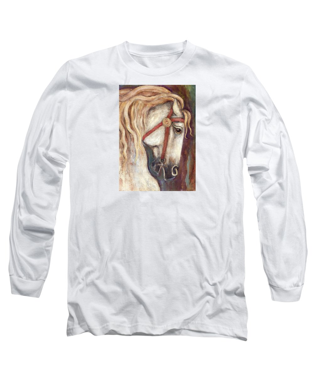 Horse Painting Long Sleeve T-Shirt featuring the painting Carousel Horse Painting by Frances Gillotti
