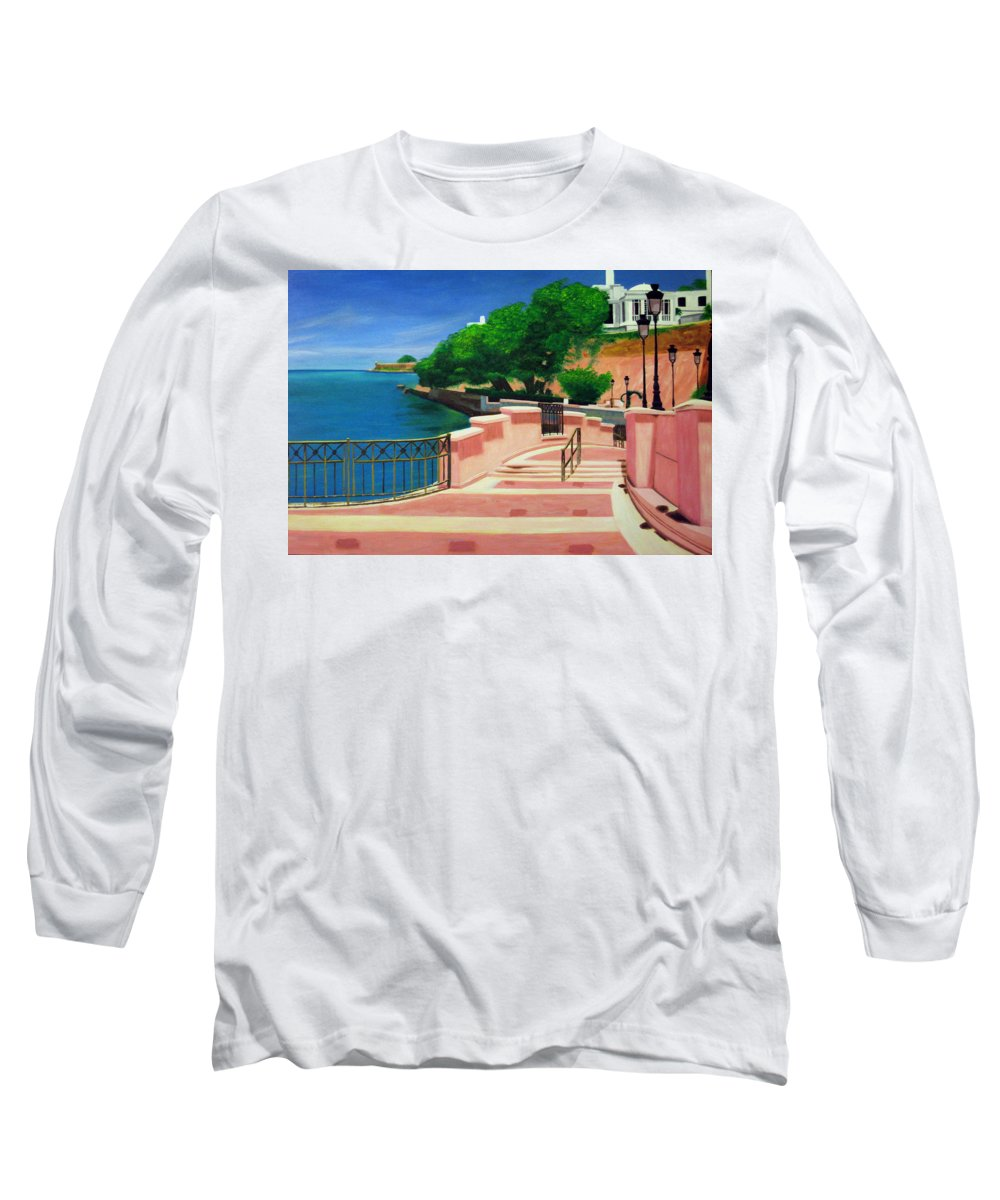 Landscape Long Sleeve T-Shirt featuring the painting Casa Blanca - Puerto Rico by Tito Santiago