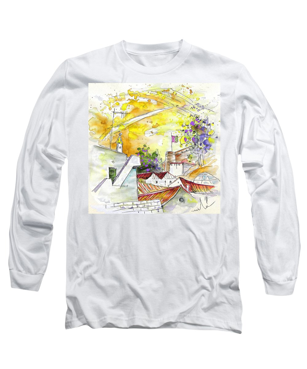 Water Colour Travel Sketch Castro Marim Portugal Algarve Miki Long Sleeve T-Shirt featuring the painting Castro Marim Portugal 03 by Miki De Goodaboom