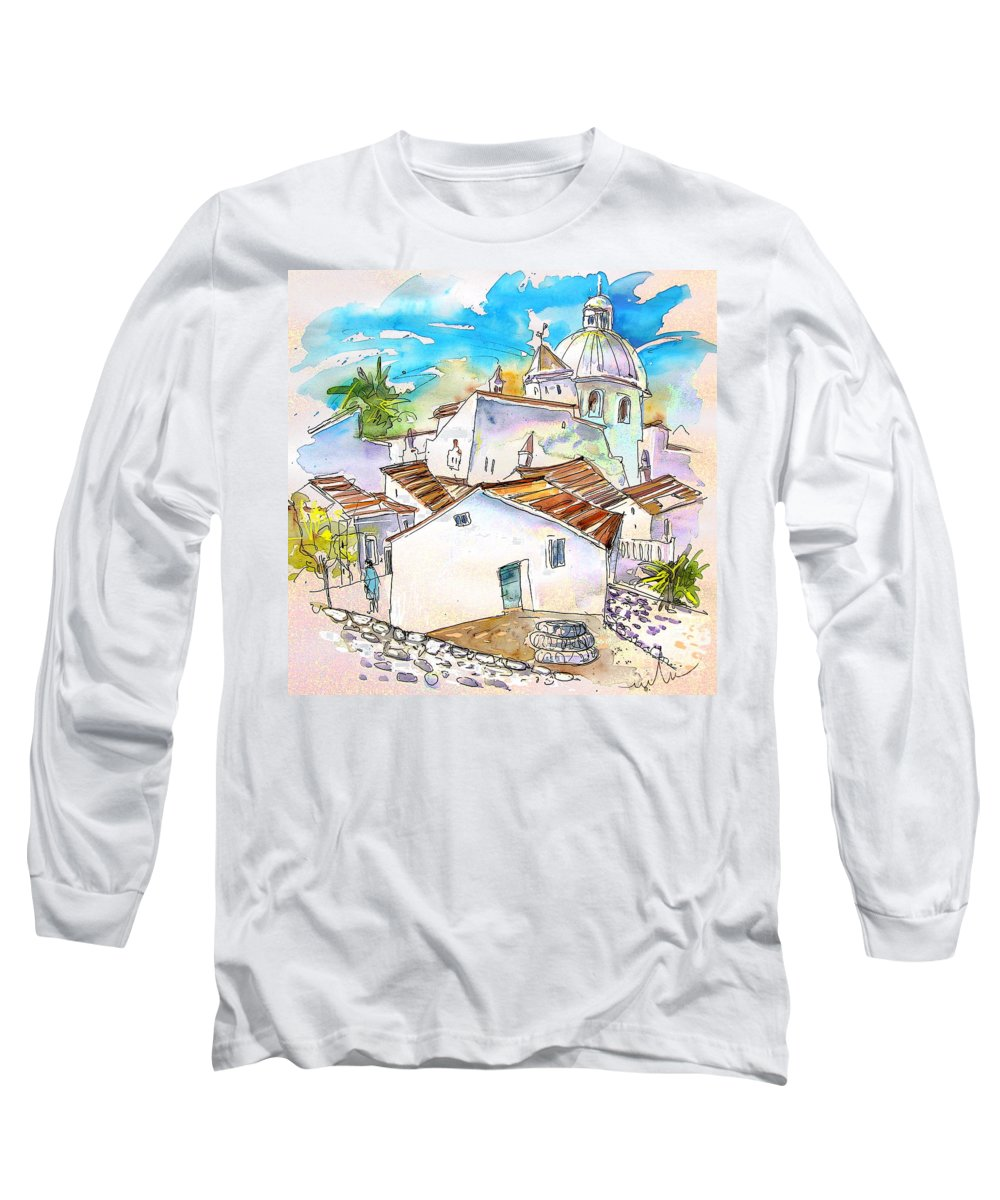 Water Colour Travel Sketch Castro Marim Portugal Algarve Miki Long Sleeve T-Shirt featuring the painting Castro Marim Portugal 05 by Miki De Goodaboom