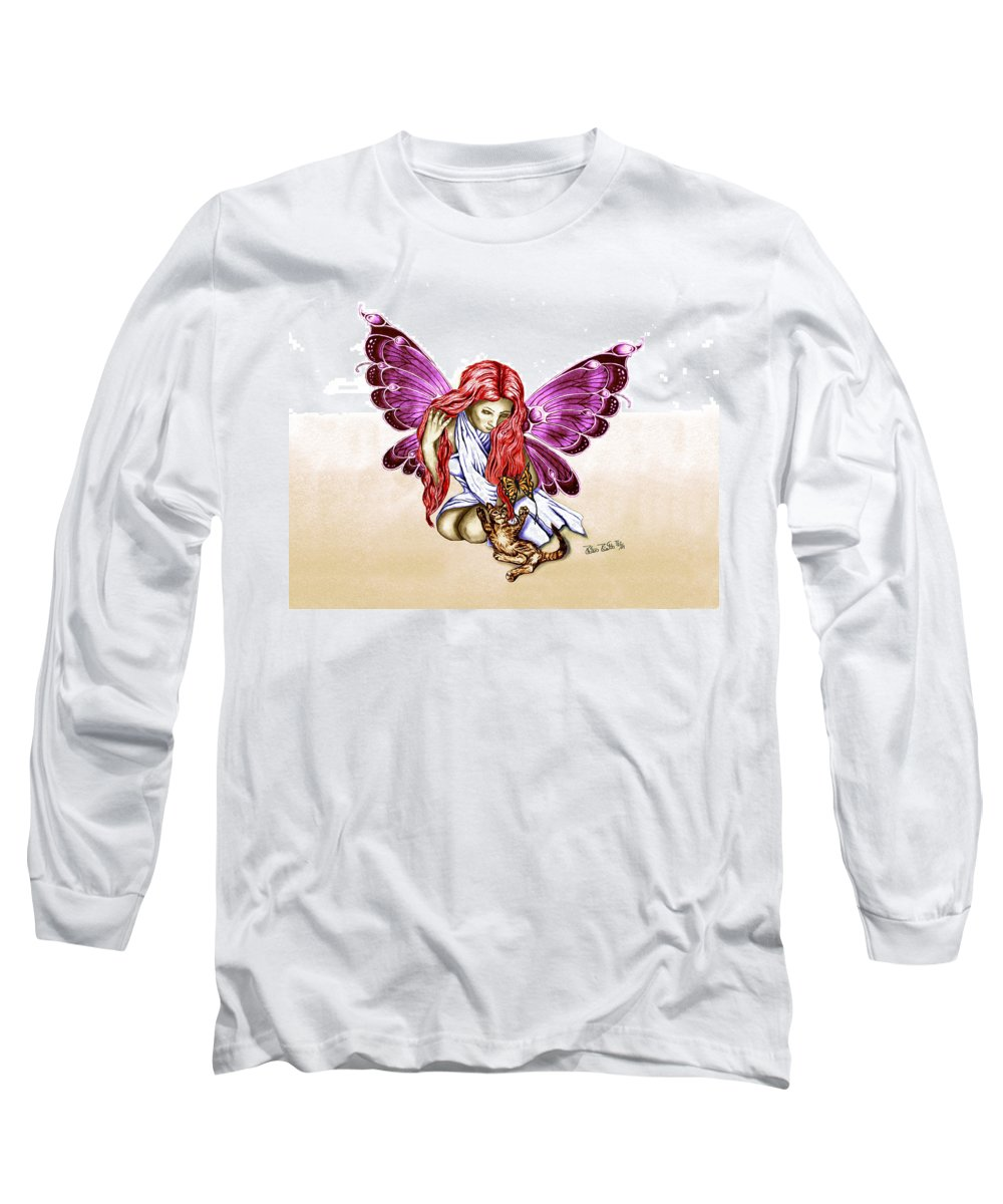 Cat Fairy Long Sleeve T-Shirt featuring the drawing Cat Fairy In Purple by Peter Piatt