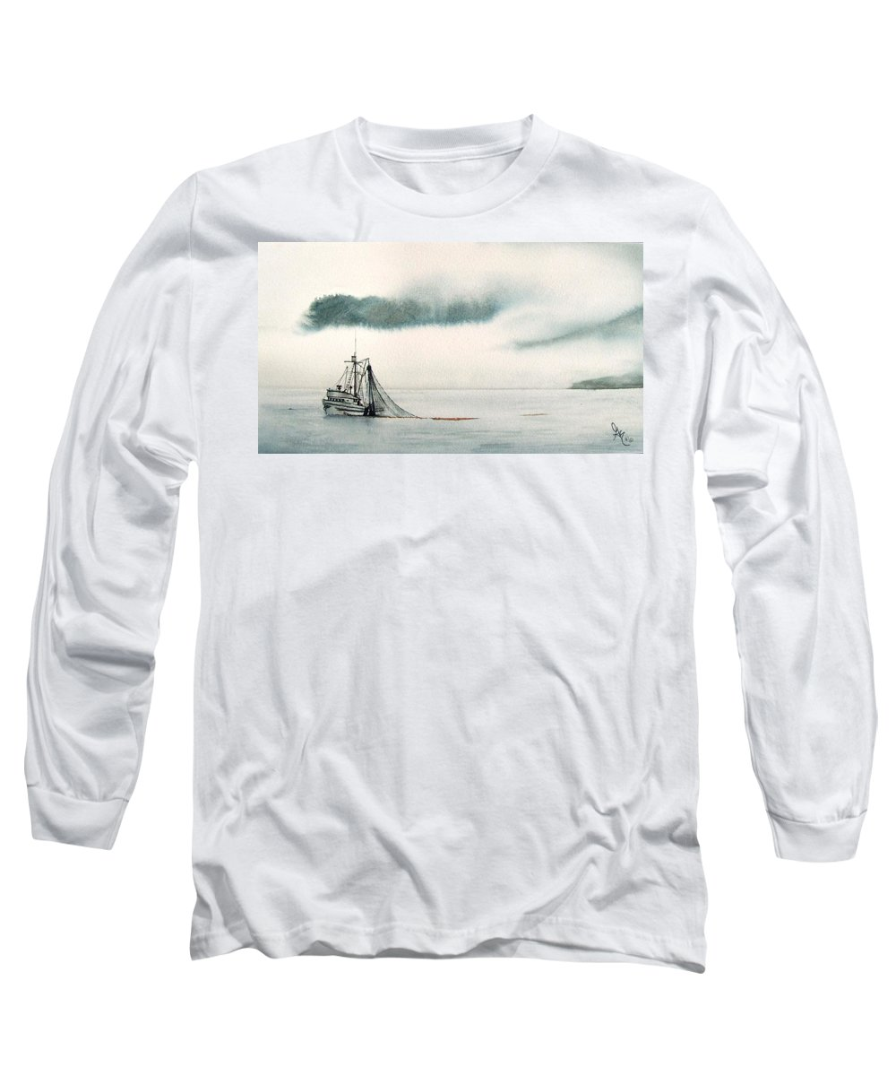 Fishing Boat Long Sleeve T-Shirt featuring the painting Catch Of The Day by Gale Cochran-Smith