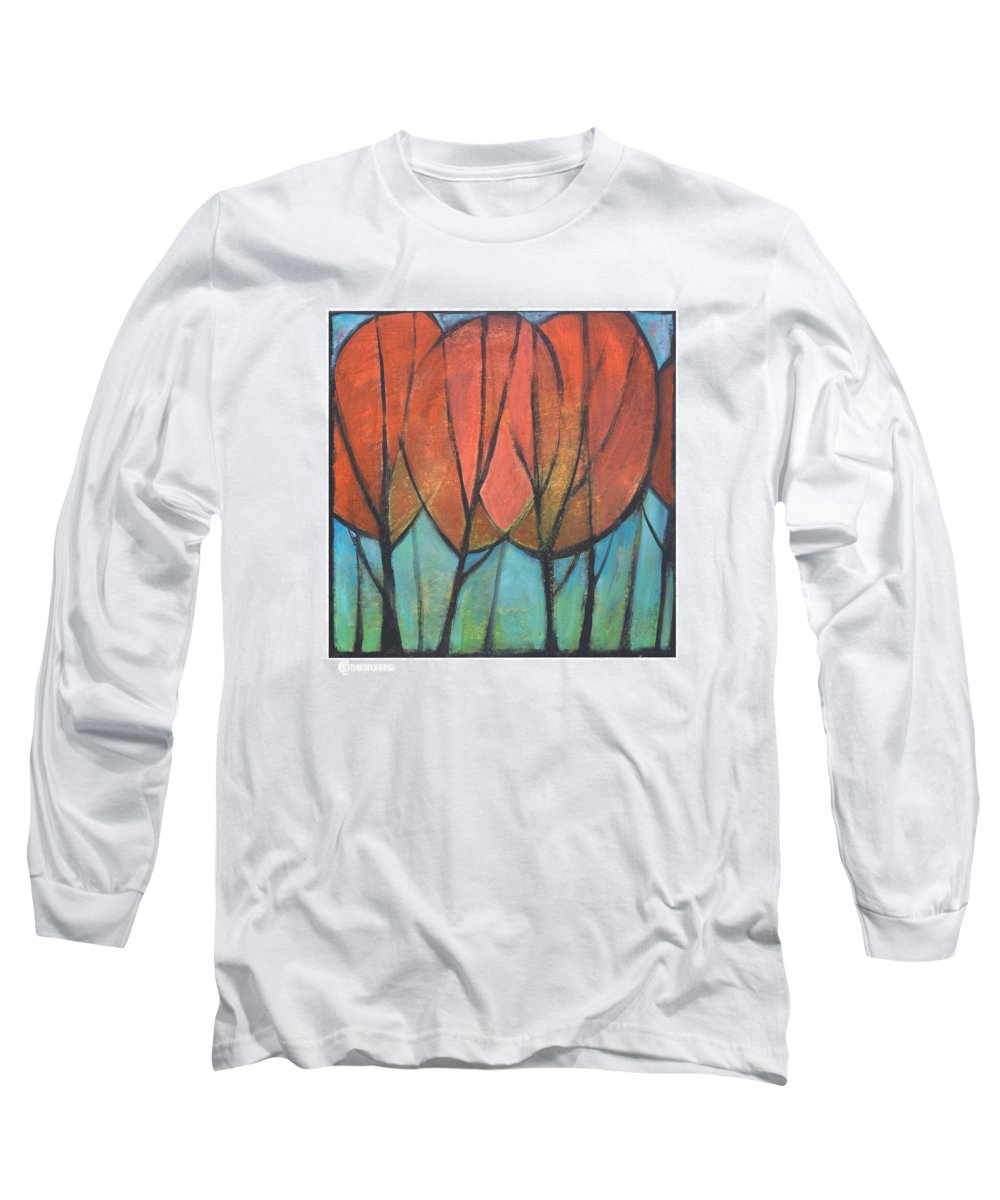 Trees Long Sleeve T-Shirt featuring the painting Cathedral by Tim Nyberg