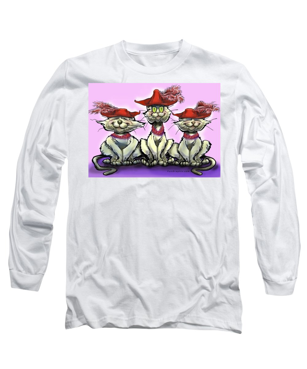 Red Hats Long Sleeve T-Shirt featuring the digital art Cats In Red Hats by Kevin Middleton