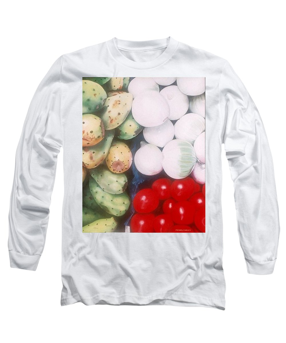 Hyperrealism Long Sleeve T-Shirt featuring the painting Cebollas Tunas Y Tomates by Michael Earney