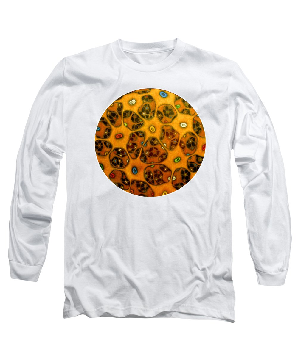 Cells Long Sleeve T-Shirt featuring the drawing Cell Network by Nancy Mueller