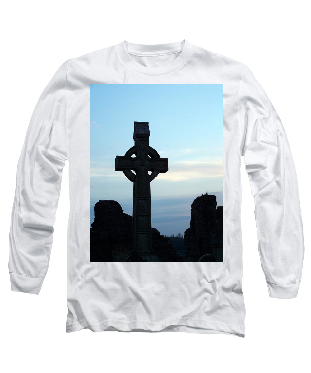 Irish Long Sleeve T-Shirt featuring the photograph Celtic Cross At Sunset Donegal Ireland by Teresa Mucha