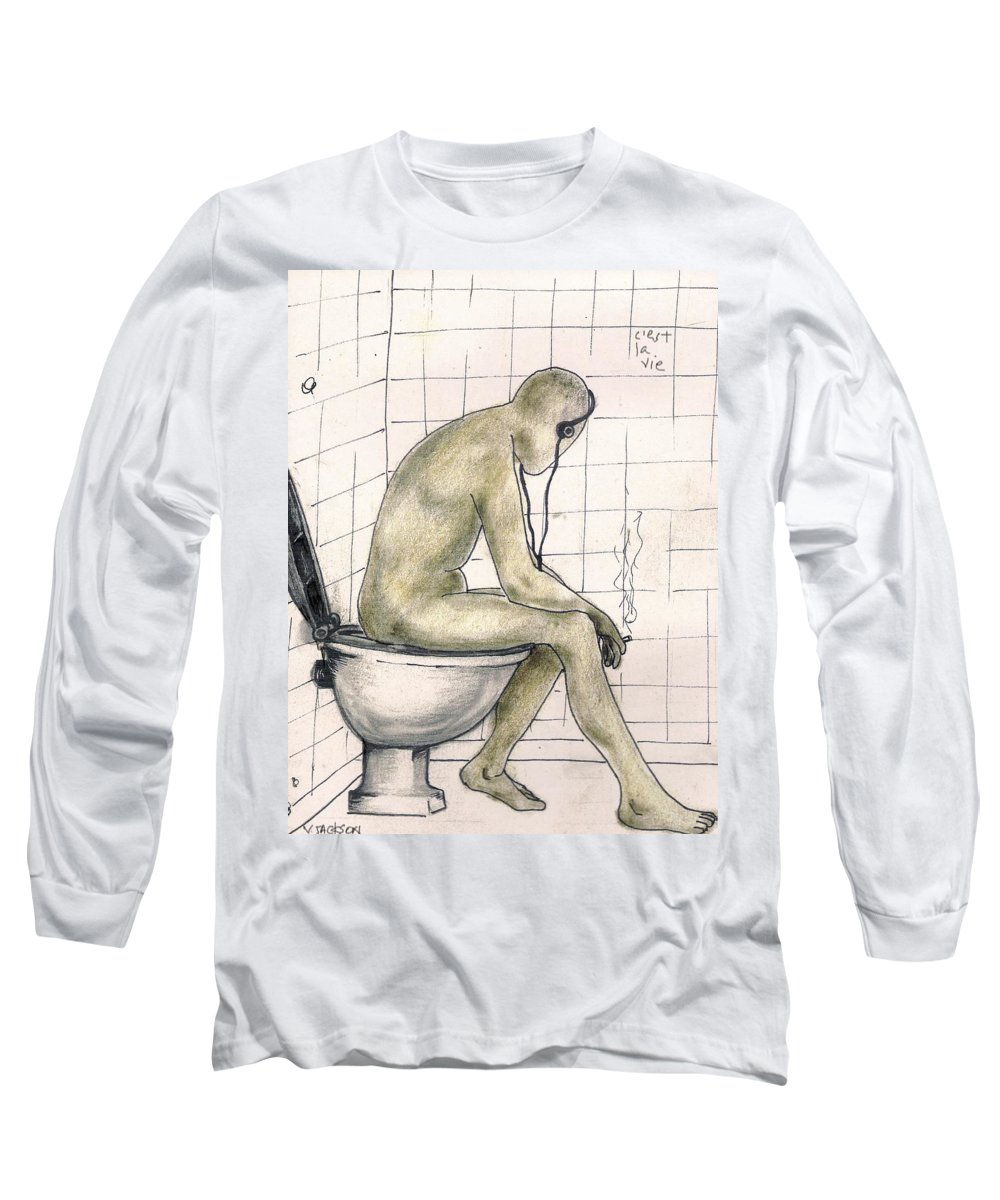 Life Naked Music Long Sleeve T-Shirt featuring the drawing C'est La Vie by Veronica Jackson