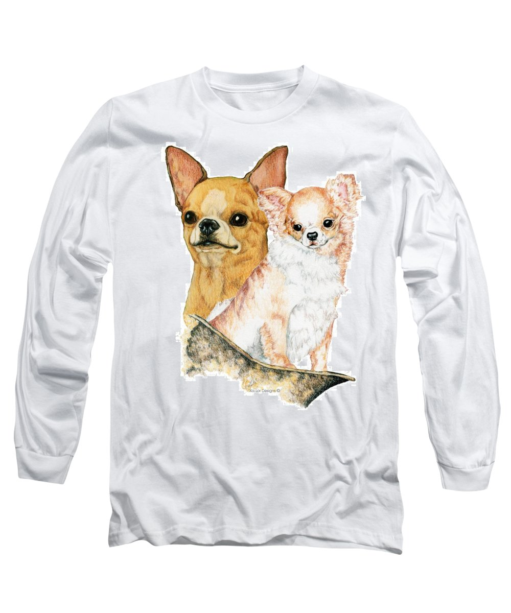Chihuahua Long Sleeve T-Shirt featuring the drawing Chihuahuas by Kathleen Sepulveda