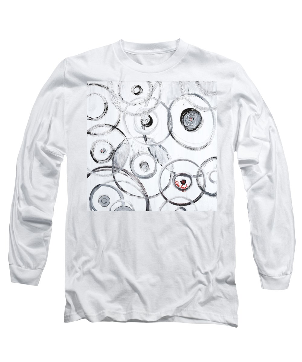 Circles Long Sleeve T-Shirt featuring the painting Choices In White by Nadine Rippelmeyer