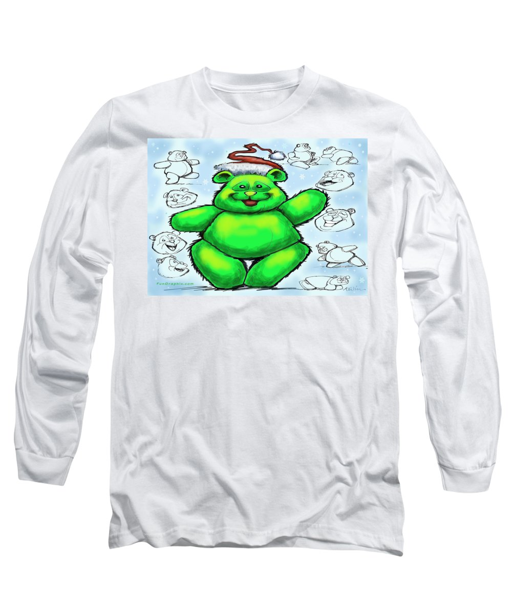 Christmas Long Sleeve T-Shirt featuring the greeting card Christmas Bear by Kevin Middleton