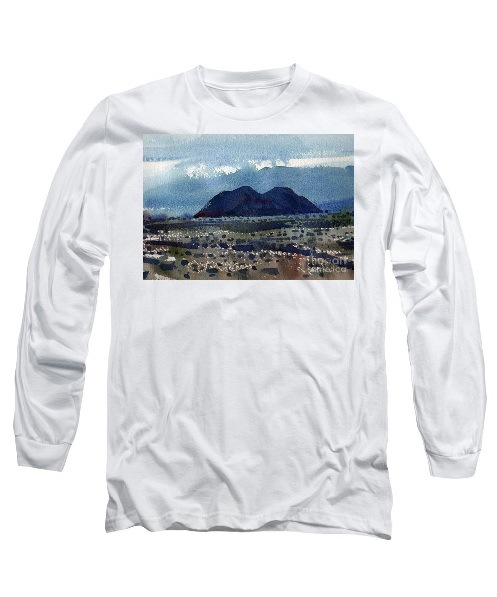 Cinder Cone Long Sleeve T-Shirt featuring the painting Cinder Cone Death Valley by Donald Maier