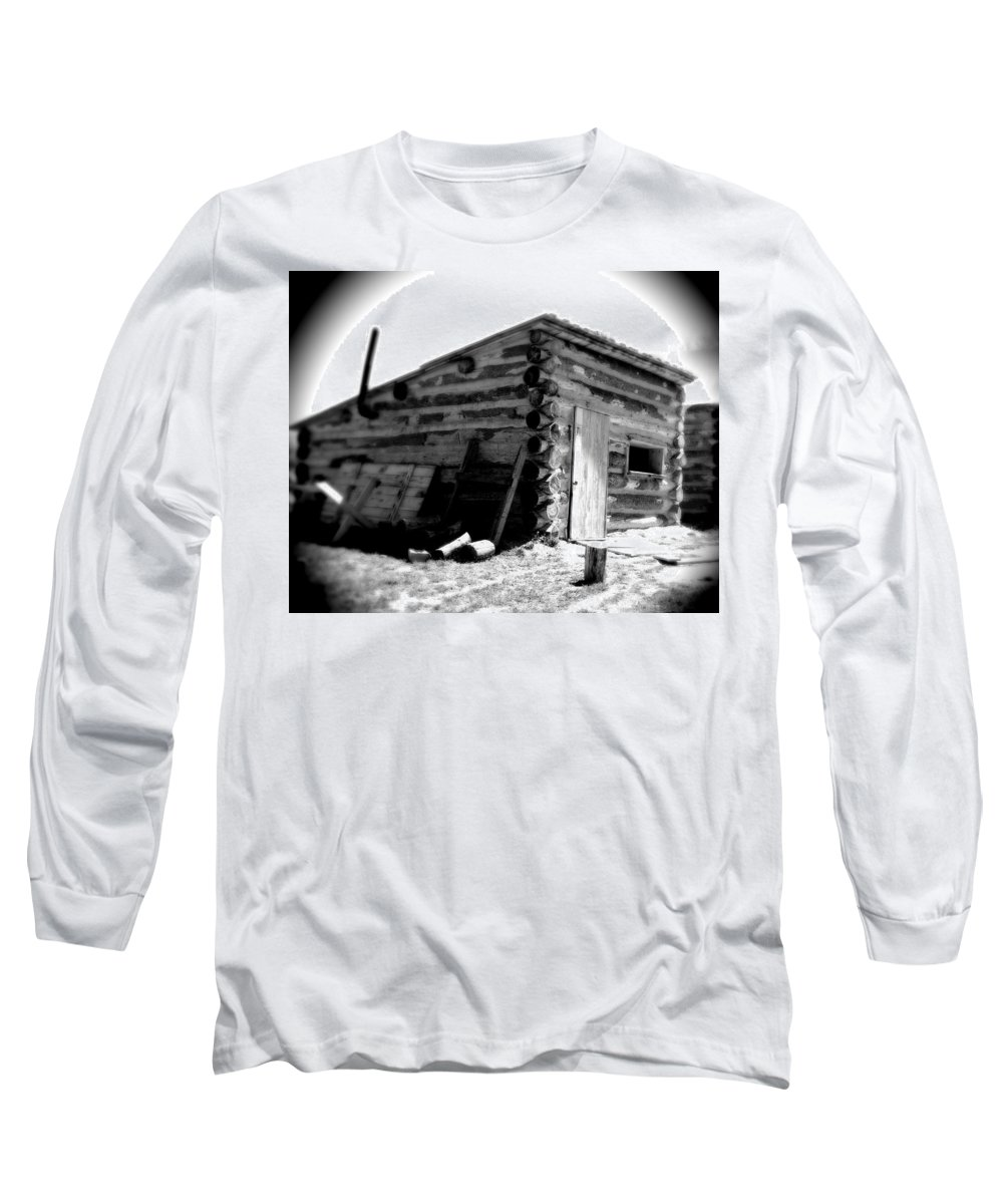 Army Long Sleeve T-Shirt featuring the photograph Civil War Cabin 1 Army Heritage Education Center by Jean Macaluso