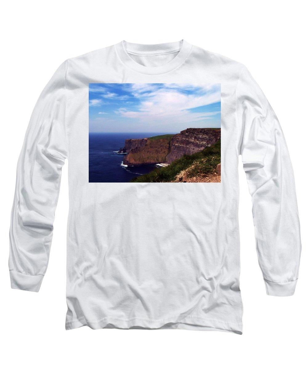 Irish Long Sleeve T-Shirt featuring the photograph Cliffs Of Moher Aill Na Searrach Ireland by Teresa Mucha
