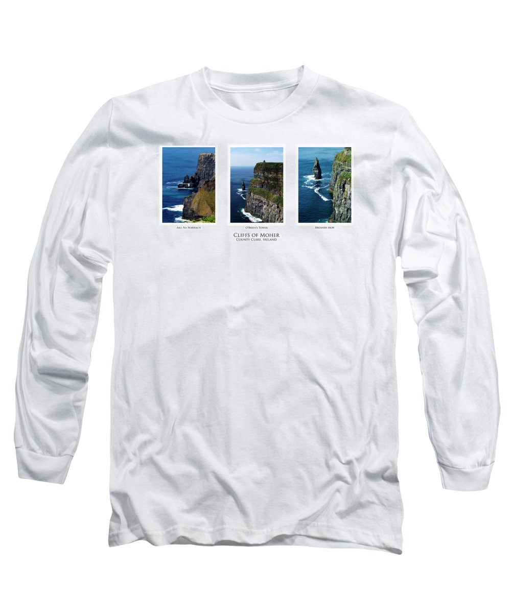 Irish Long Sleeve T-Shirt featuring the photograph Cliffs Of Moher Ireland Triptych by Teresa Mucha