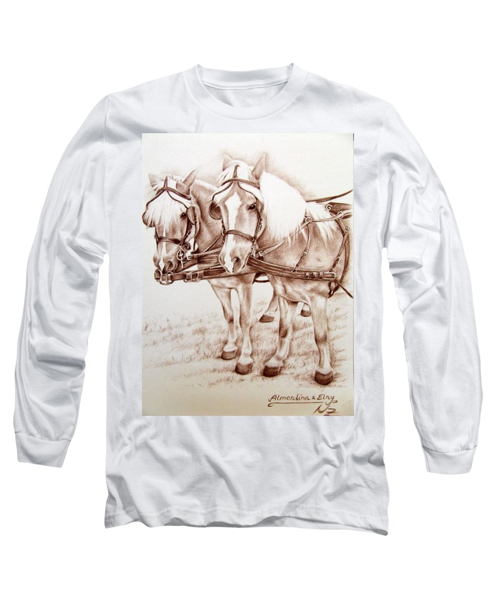 Horses Long Sleeve T-Shirt featuring the drawing Coach Horses by Nicole Zeug