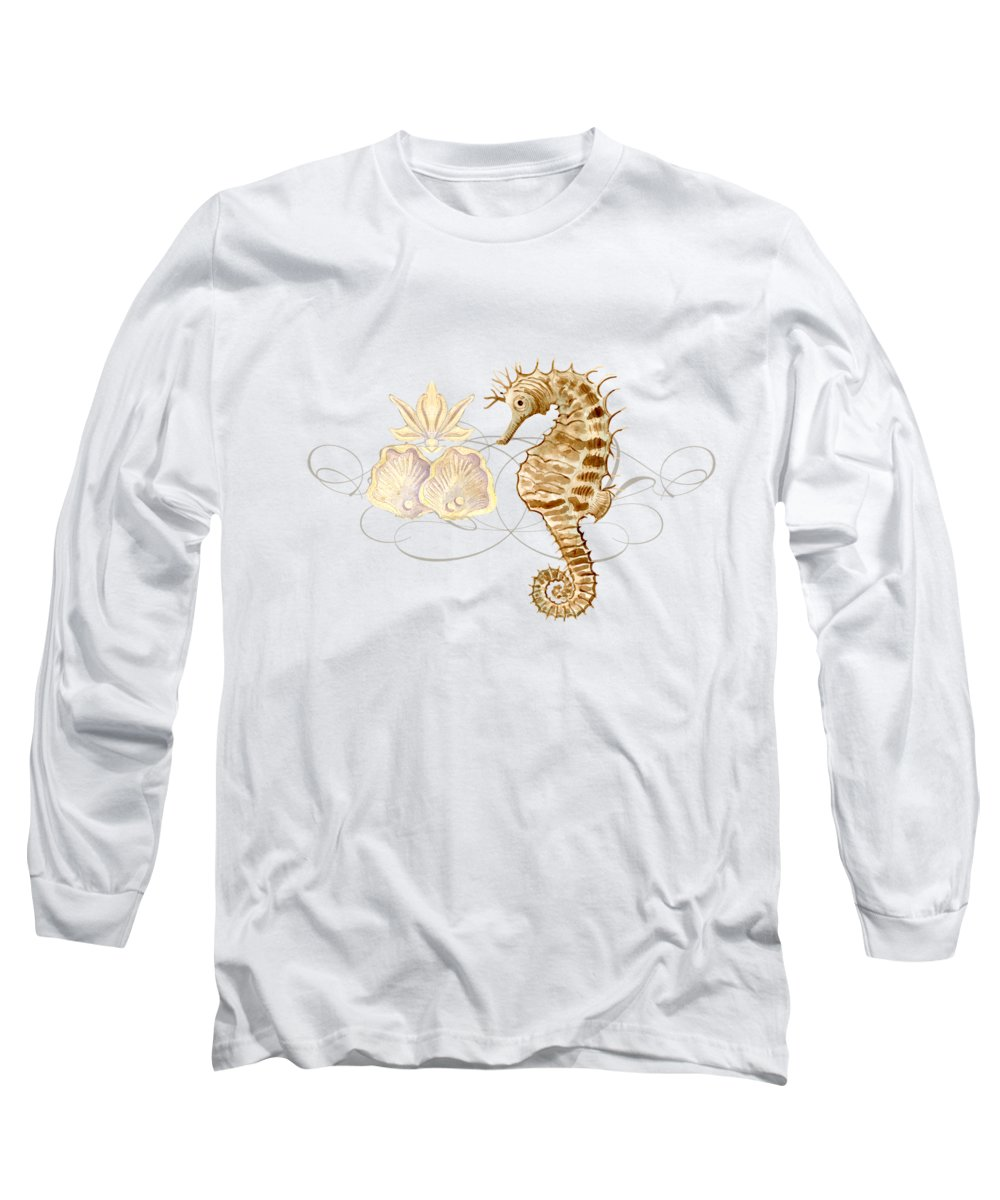 Watercolor Long Sleeve T-Shirt featuring the painting Coastal Waterways - Seahorse Rectangle 2 by Audrey Jeanne Roberts