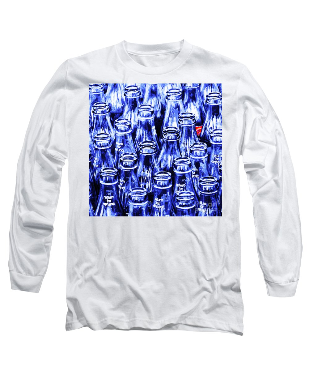 Wingsdomain Long Sleeve T-Shirt featuring the photograph Coca-cola Coke Bottles - Return For Refund - Square - Painterly - Blue by Wingsdomain Art and Photography