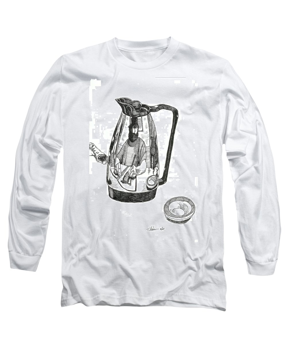 Pen And Ink Long Sleeve T-Shirt featuring the drawing Coffee Pot by Tobey Anderson