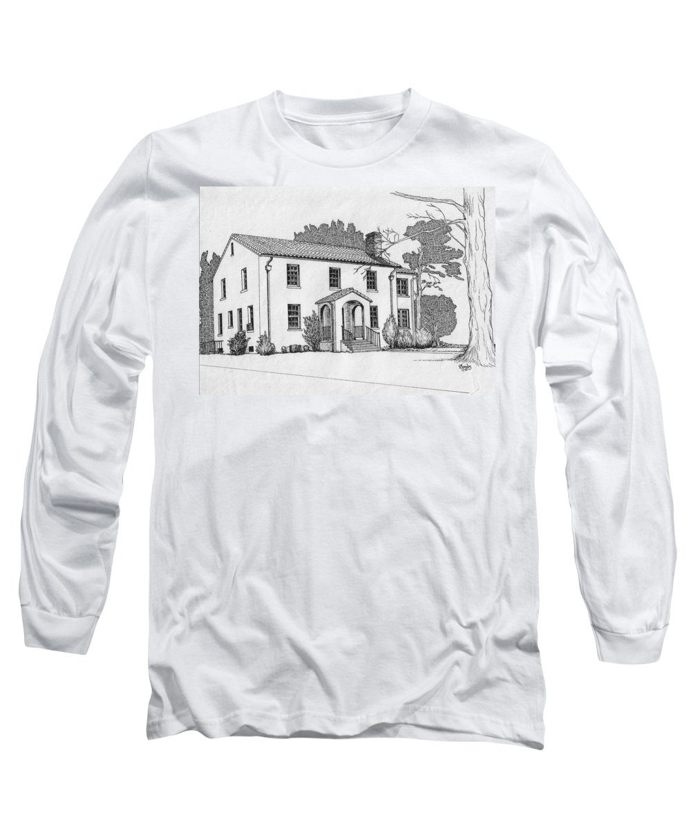 Drawing - Pen And Ink Long Sleeve T-Shirt featuring the drawing Colonel Quarters 2 - Fort Benning Ga by Marco Morales