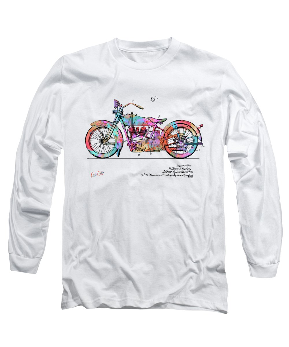 Colorful Long Sleeve T-Shirt featuring the digital art Colorful 1928 Harley Motorcycle Patent Artwork by Nikki Marie Smith