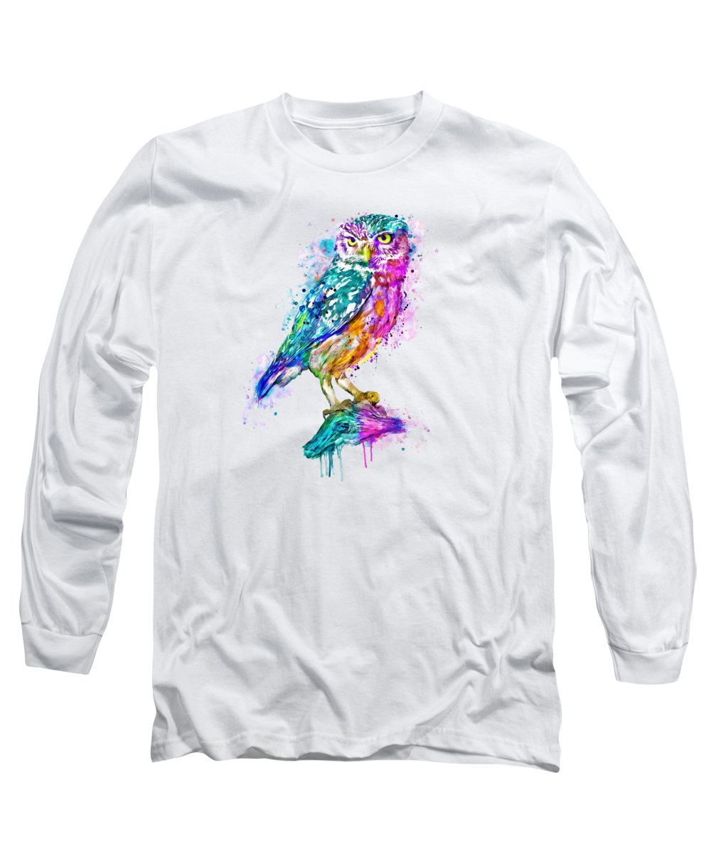 Colorful Long Sleeve T-Shirt featuring the painting Colorful Owl by Marian Voicu