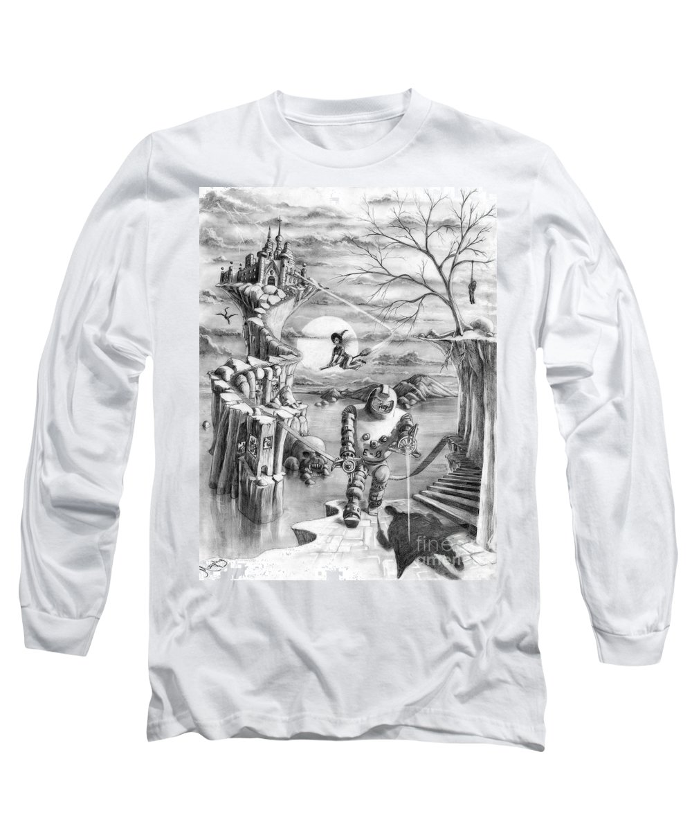 Witch Long Sleeve T-Shirt featuring the drawing Comic Book Cover by Murphy Elliott