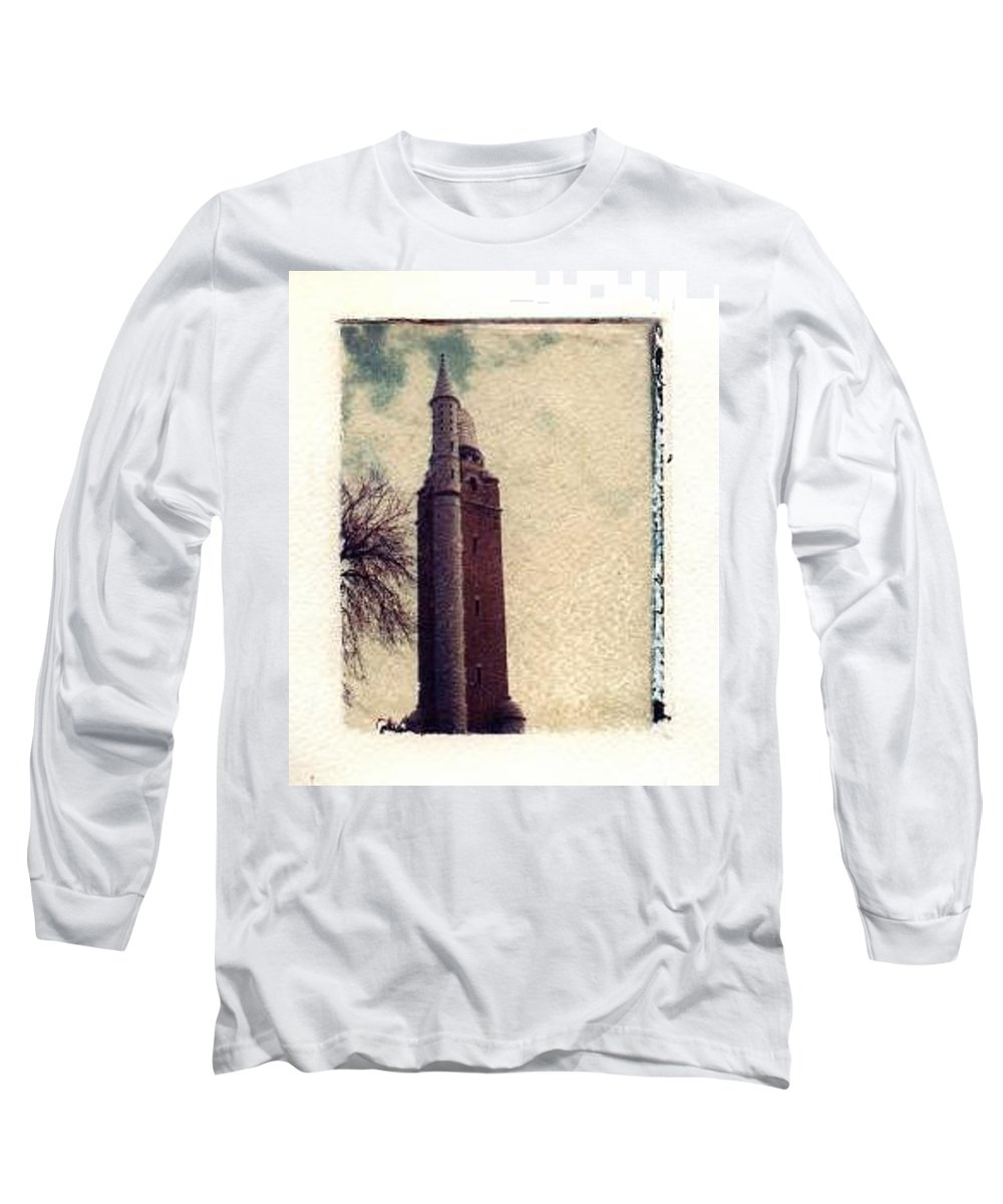 Polaroid Transfer Long Sleeve T-Shirt featuring the photograph Compton Water Tower by Jane Linders