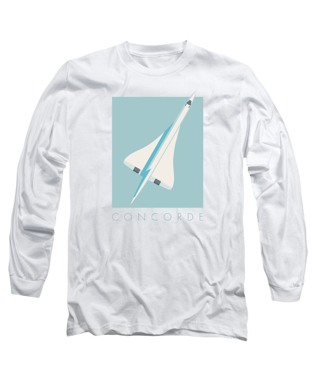 Concorde Long Sleeve T-Shirt featuring the digital art Concorde Jet Airliner - Sky by Ivan Krpan