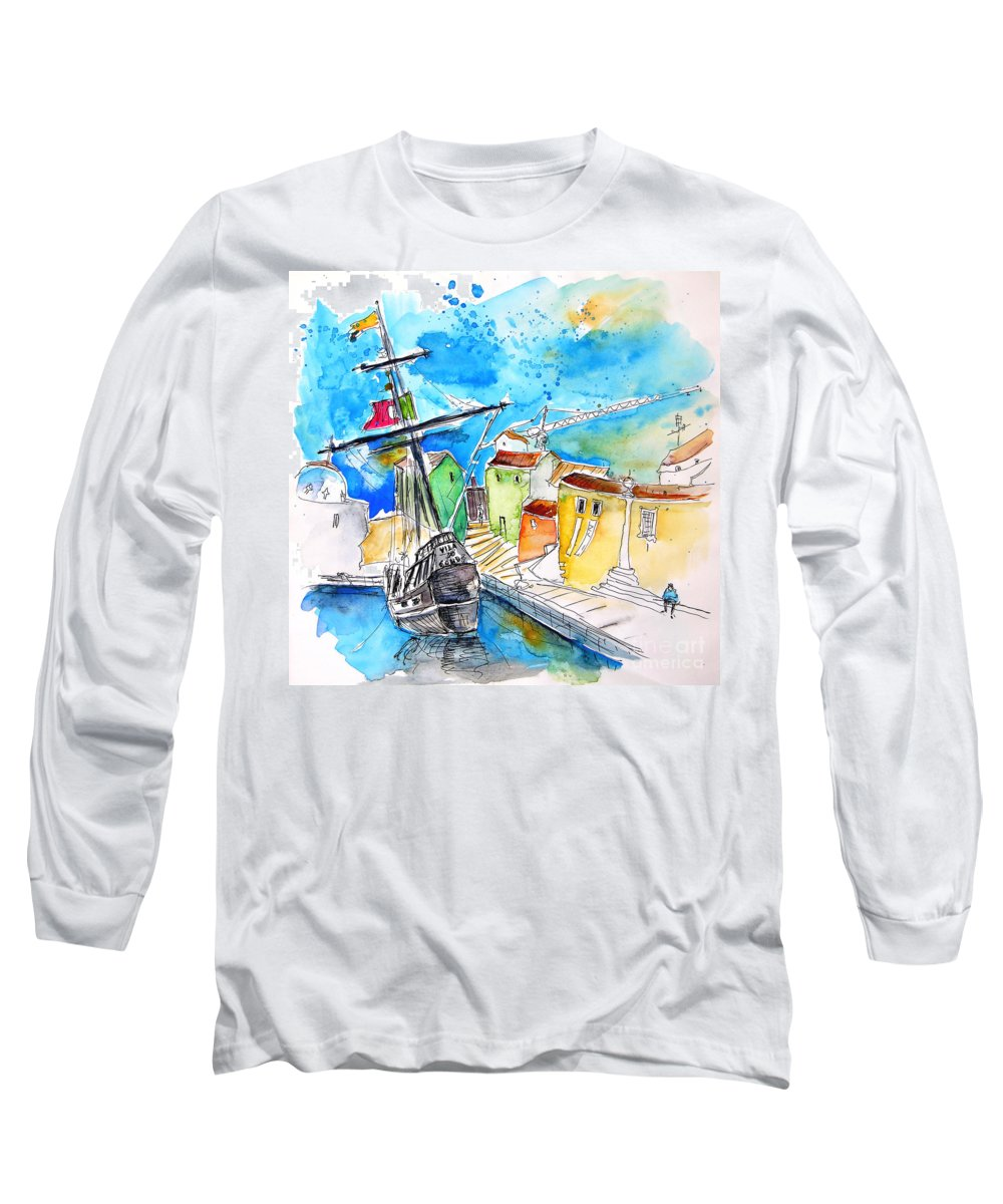 Portugal Long Sleeve T-Shirt featuring the painting Conquistador Boat In Portugal by Miki De Goodaboom