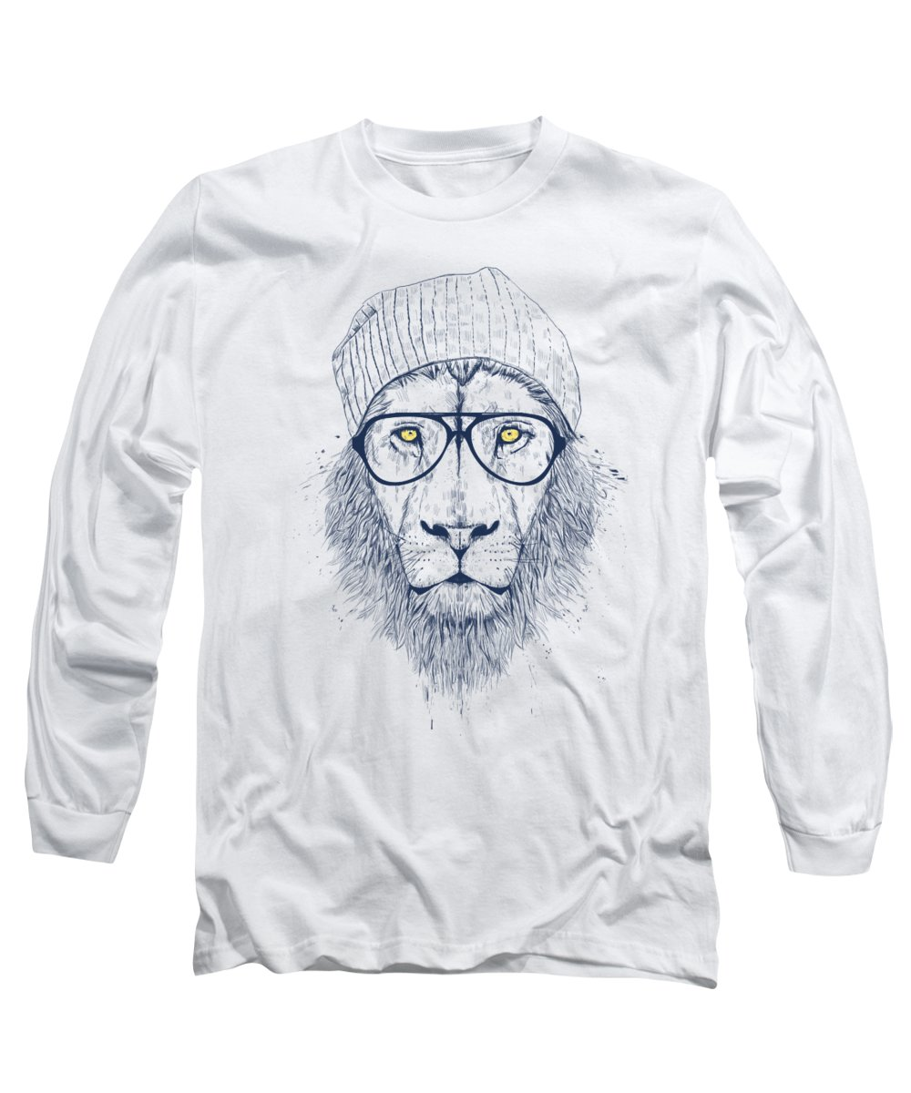 Lion Long Sleeve T-Shirt featuring the digital art Cool lion by Balazs Solti