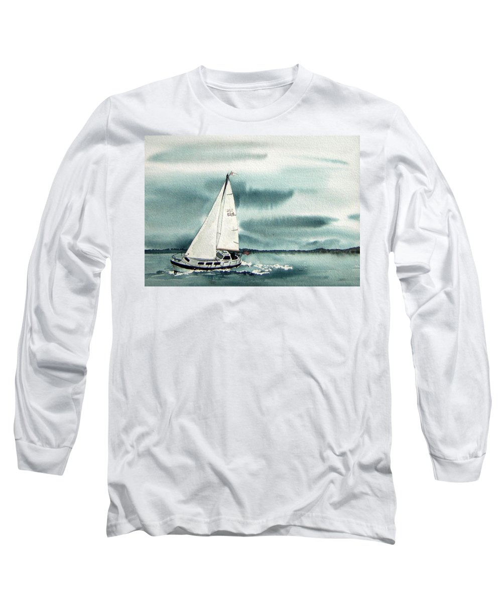 Sailing Long Sleeve T-Shirt featuring the painting Cool Sail by Gale Cochran-Smith