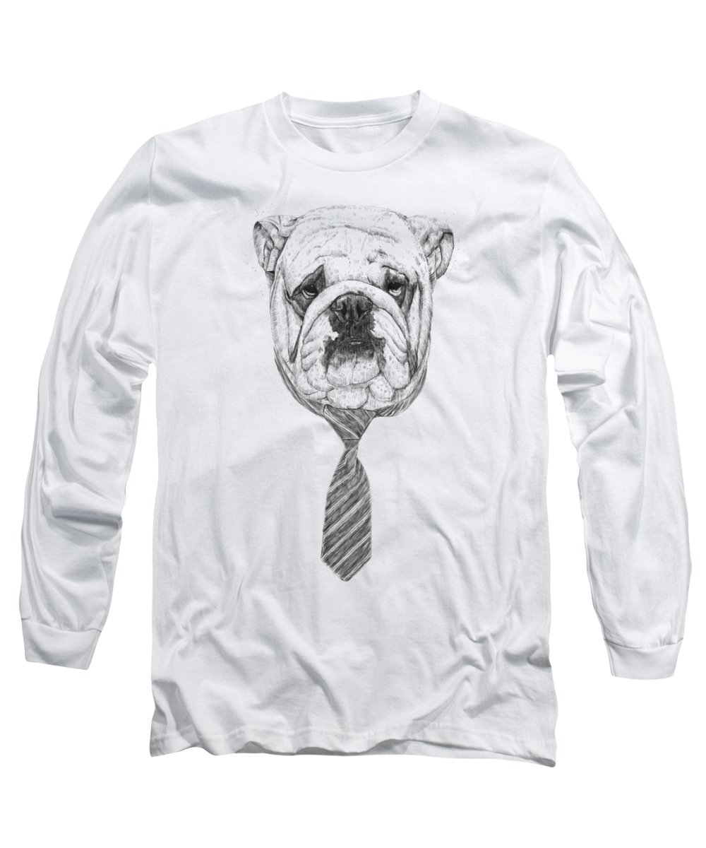 Dog Long Sleeve T-Shirt featuring the drawing Cooldog by Balazs Solti
