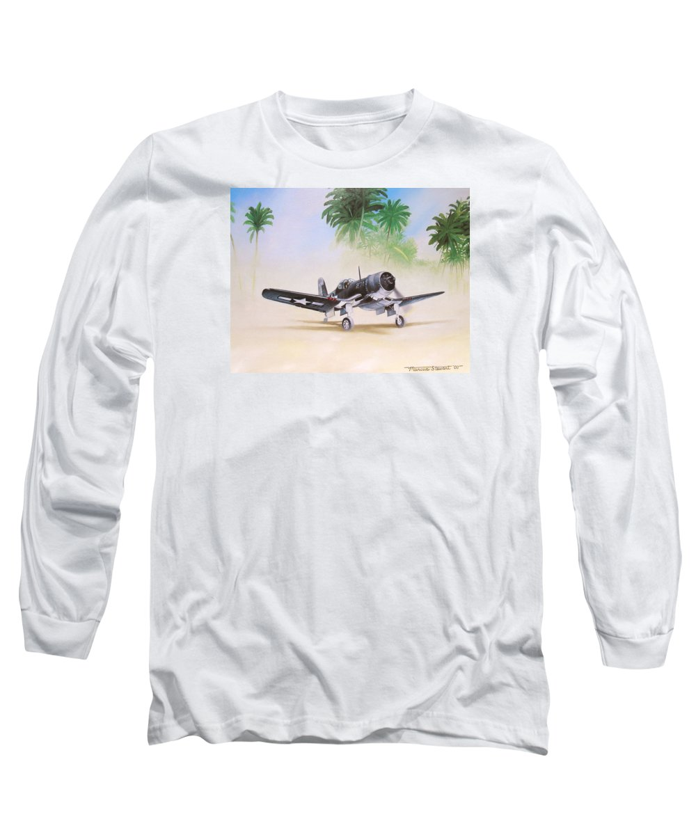 Aviation Long Sleeve T-Shirt featuring the painting Corsair Preflight by Marc Stewart
