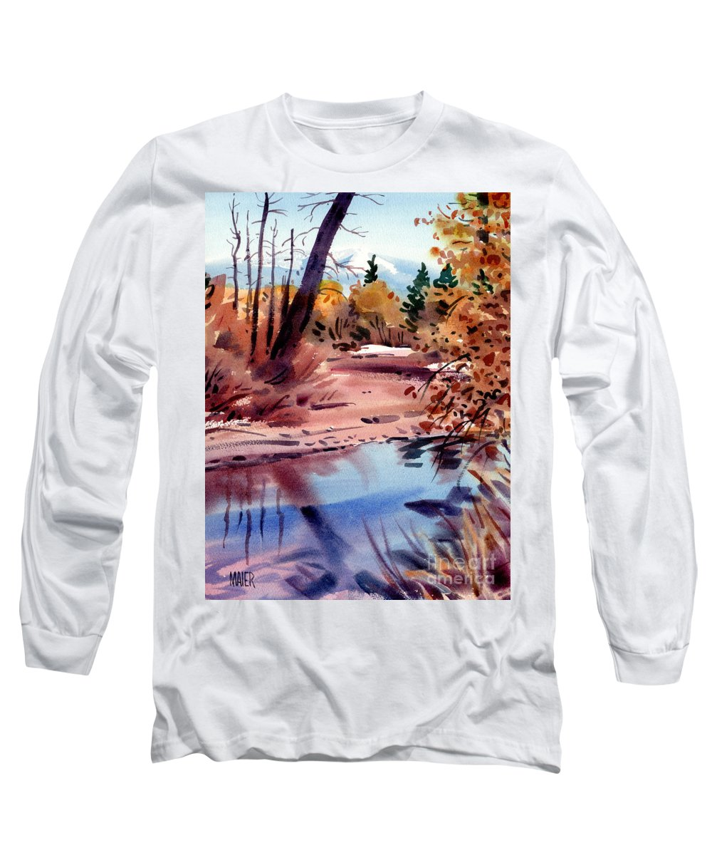 Cottonwood Trees Long Sleeve T-Shirt featuring the painting Cottonwoods In October by Donald Maier