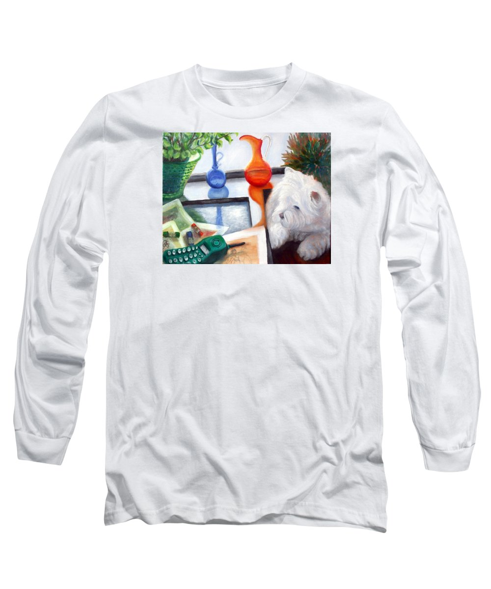 Dog Long Sleeve T-Shirt featuring the painting Creative Reflections by Minaz Jantz