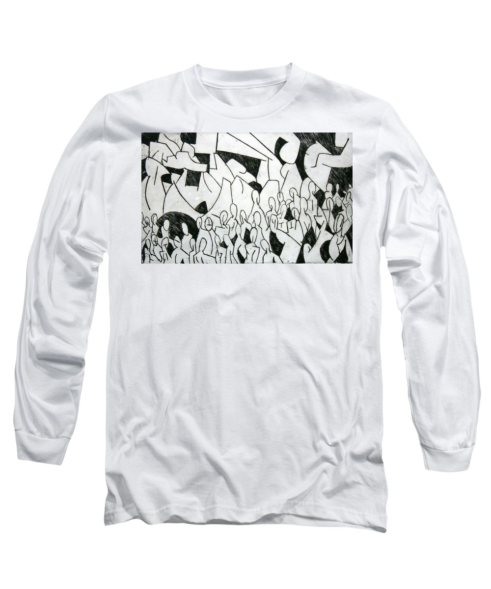 Etching Long Sleeve T-Shirt featuring the print Crowd by Thomas Valentine