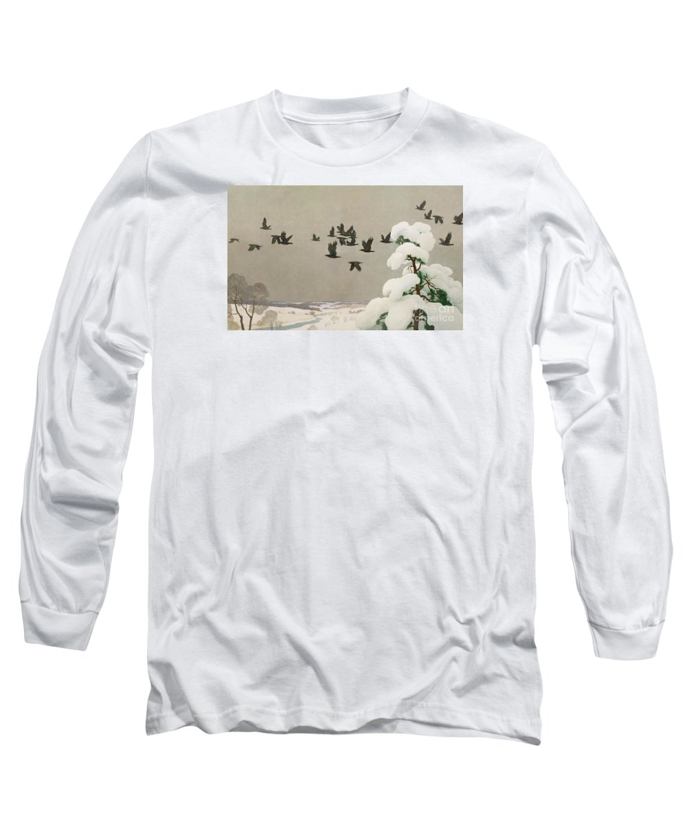 Crows In Winter Long Sleeve T-Shirt featuring the painting Crows In Winter by Newell Convers Wyeth
