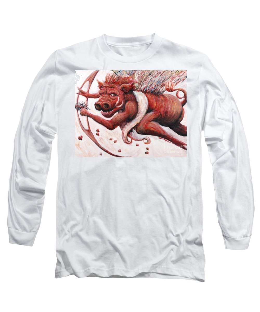 Pig Long Sleeve T-Shirt featuring the painting Cupig by Nadine Rippelmeyer