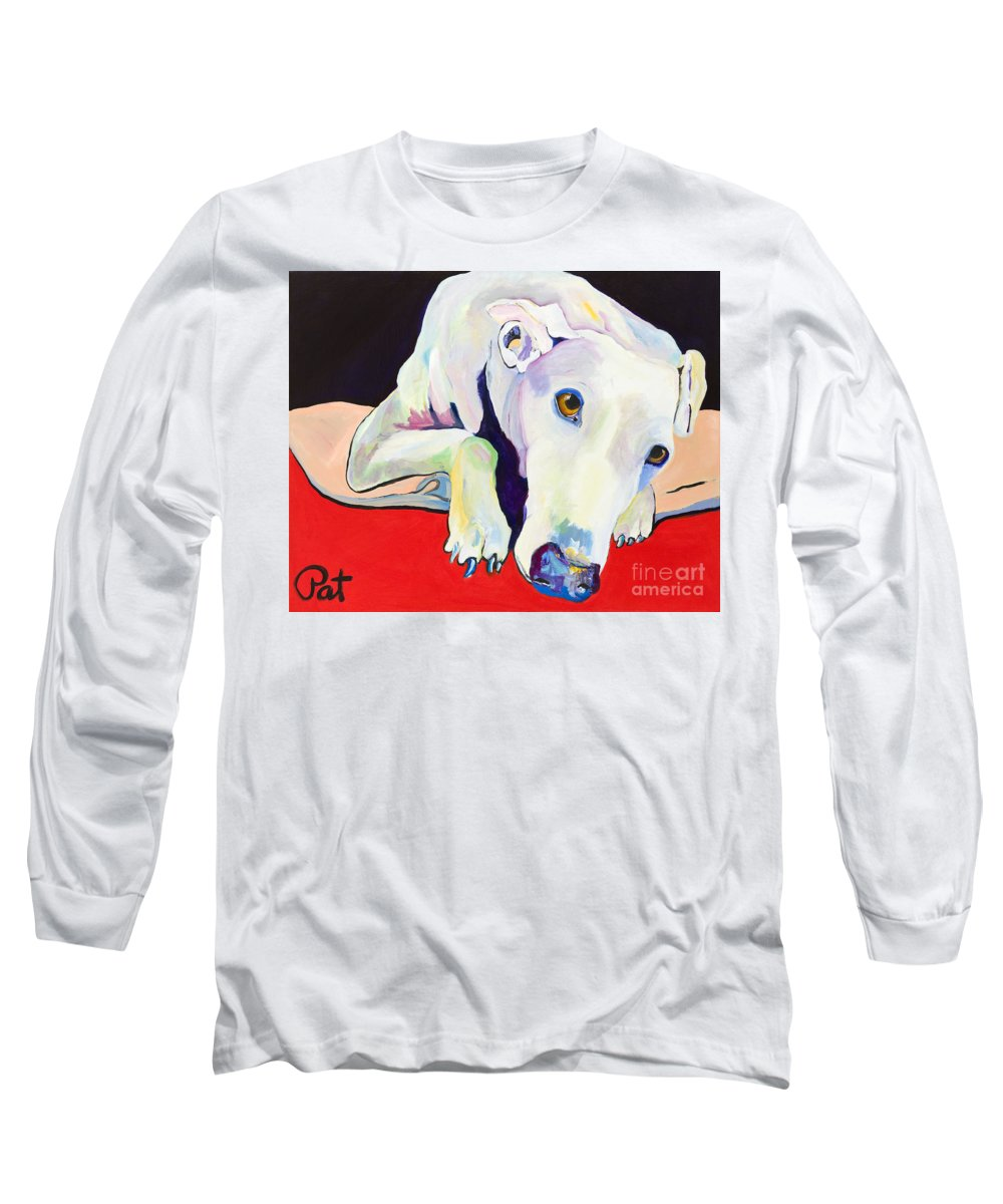 Animals Pets Greyhound Long Sleeve T-Shirt featuring the painting Cyrus by Pat Saunders-White