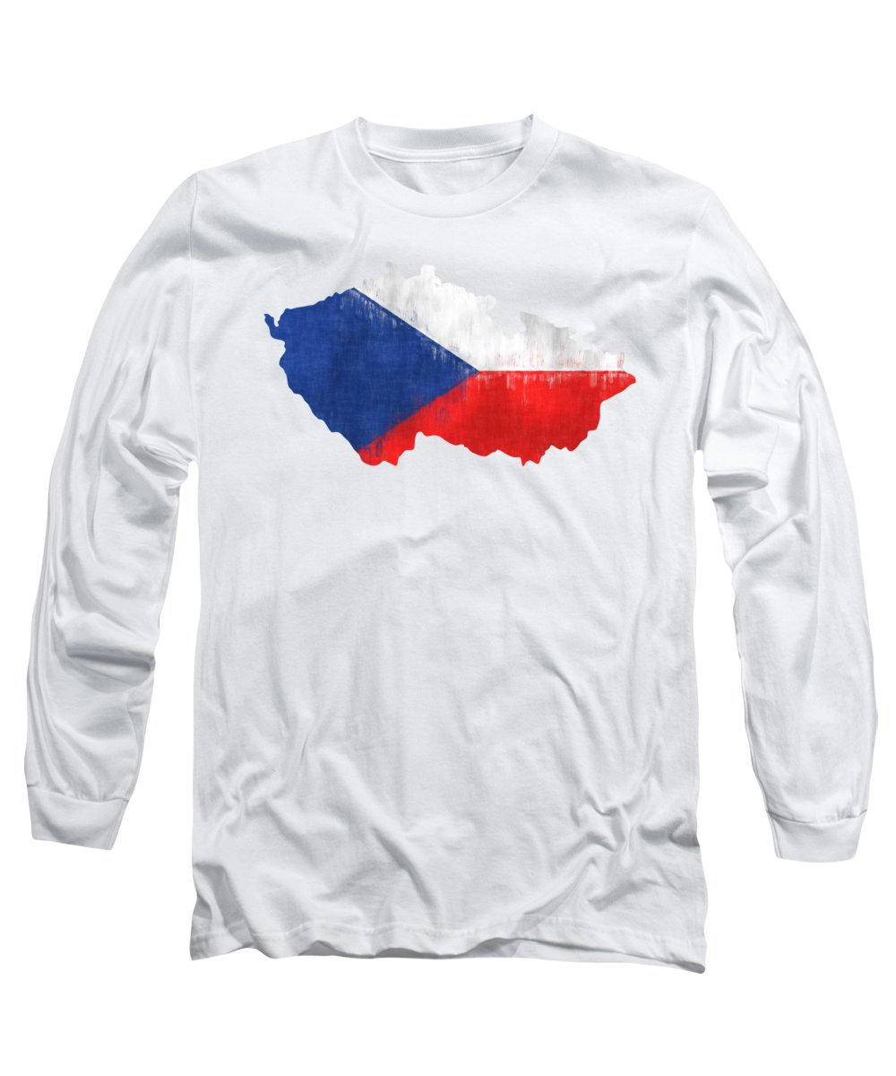 Czechia Long Sleeve T-Shirt featuring the digital art Czechia Map Art With Flag Design by World Art Prints And Designs