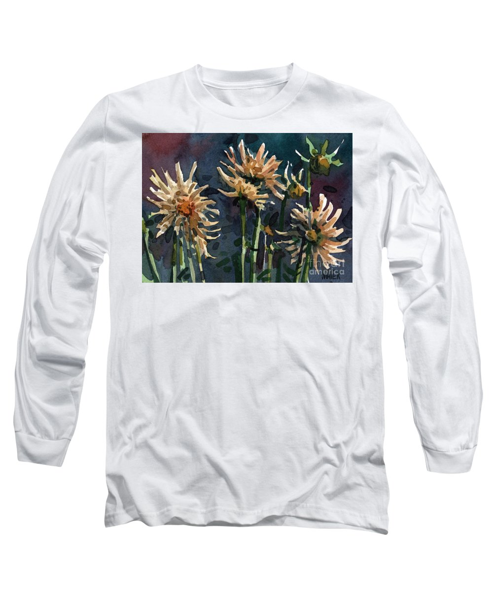 Floral Long Sleeve T-Shirt featuring the painting Dahlias by Donald Maier
